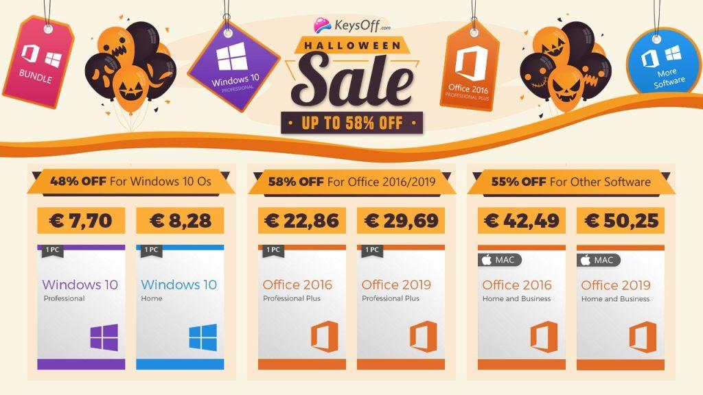 Vente d'Halloween chez KeysOff.com, Windows 10 à seulement 7,70€ !