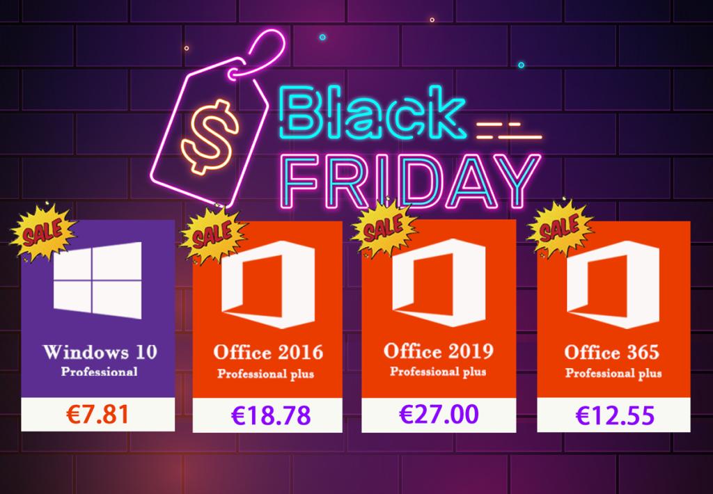 Le Black Friday ça continue : Windows 10 Pro à 7.81@ & Office 2016 Pro à 18.78€ !