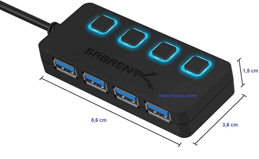 Un hub 4 ports USB avec commutateurs individuels