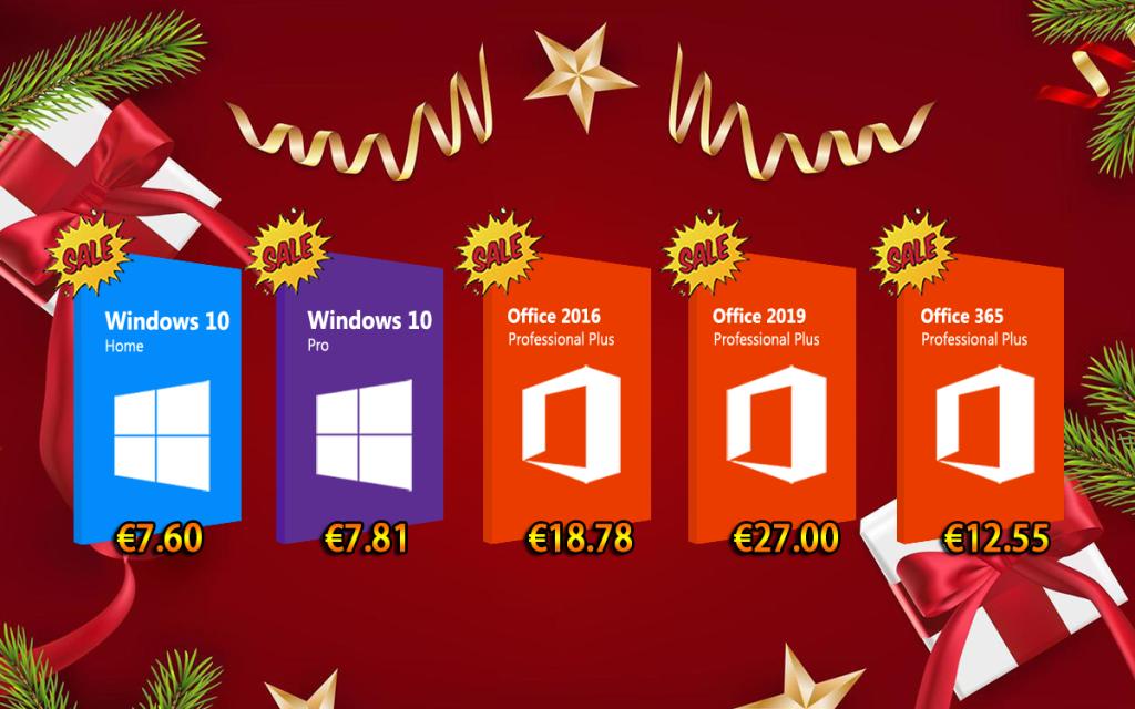 Rien n'arrête les promos pendant les fêtes : Windows 10 Pro €7.81, Office 2016 Pro €18.78