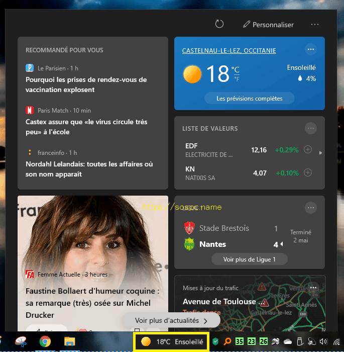 widget météo & actu dans la zone de notifications